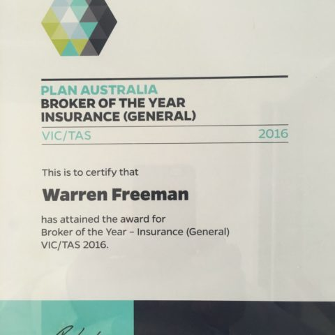 PLAN Australia 2016 Broker of the Year - Insurance VIC/TAS